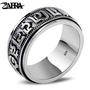 Image 1 - ZABRA Punk Jewelry For Men 925 Sterling Silver Spinner Ring Vintage Six Words Mantra Mens Signet Rings