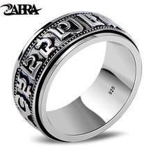 ZABRA Punk Schmuck Für Männer 925 Sterling Silber Spinner Ring Vintage Sechs Wörter Mantra Herren Siegelringe