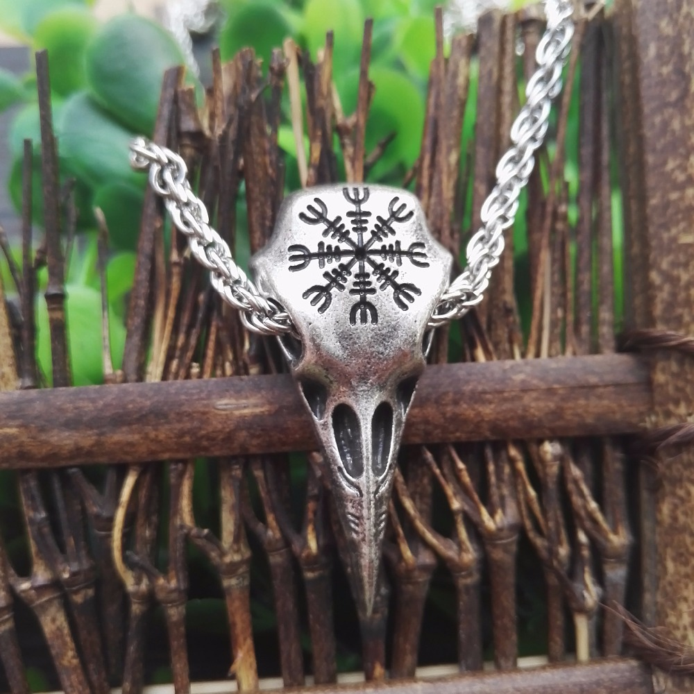 SanLan 1pcs dropshipping New Viking Helm of Awe Odin Raven skull Pendant Necklace for Men odin raven amulet Necklace Jewelry