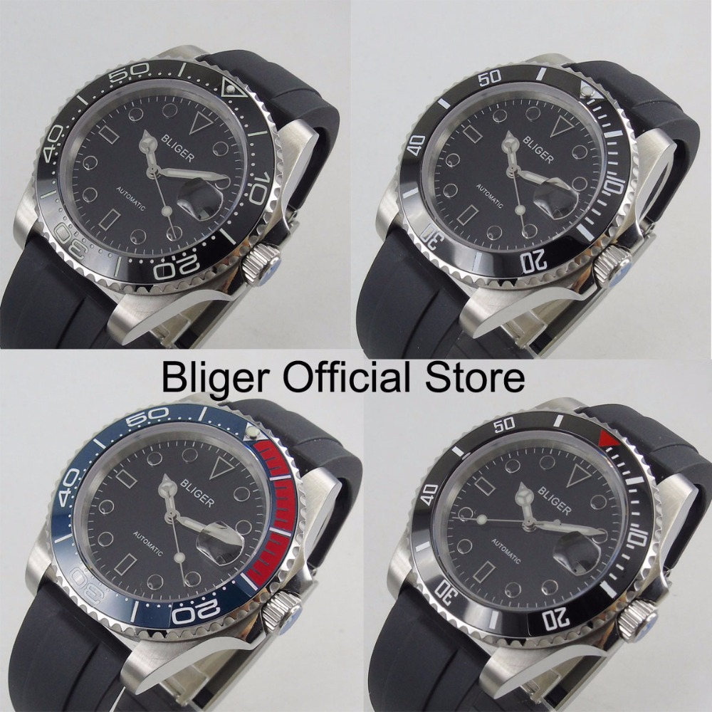 4 Models New 40mm Auto Date Automatic Men's Watch Rubber Strap