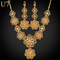 U7 Flower Jewelry Set Wholesale New Gold Plated Vintage Party Long Earrings Charms Necklace Set For Women S546