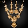 U7 flor set jóias atacado new banhado a ouro encantos colar set para as mulheres do partido brincos longos do vintage s546