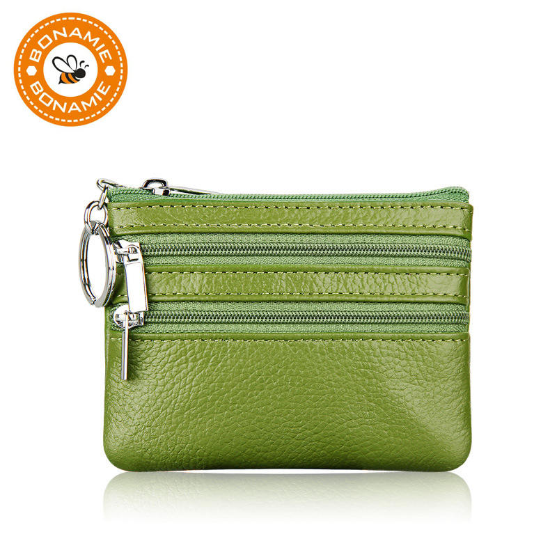 BONAMIE 11 Colors Fashion Genuine Leather Women Lady Wallet Clutch Short Small Coin Purse Brand New Soft Solid 3 Zip Square Bag