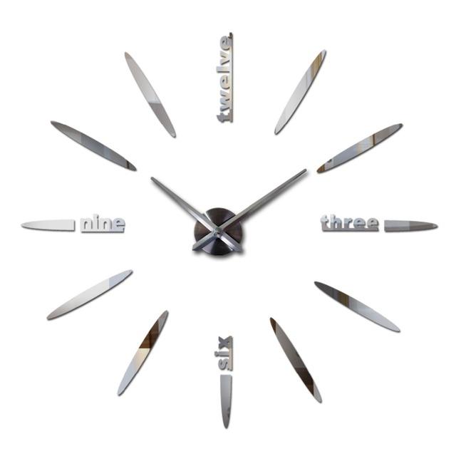 2017 hot sale large wall clock acrylicmirror clocks horloge quartz needle home decoration living room  wall sticker