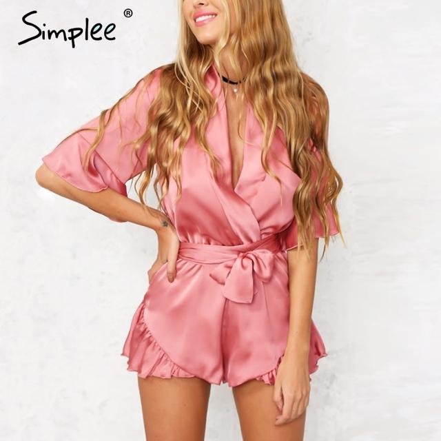 Simplee apparel verão estilo satin ruffles elegante jumpsuit romper playsuit profundo decote em v sexy mulheres laço rosa curto macacão de praia