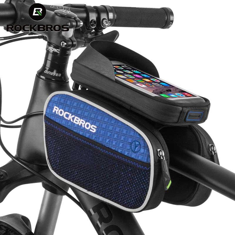 """ROCKBROS непромокаемые велосипед передняя сумка с Сенсорный экран Для 5.7 """"мобильный телефон Велоспорт Велосипедные рамы Топ трубки телефона св…"""