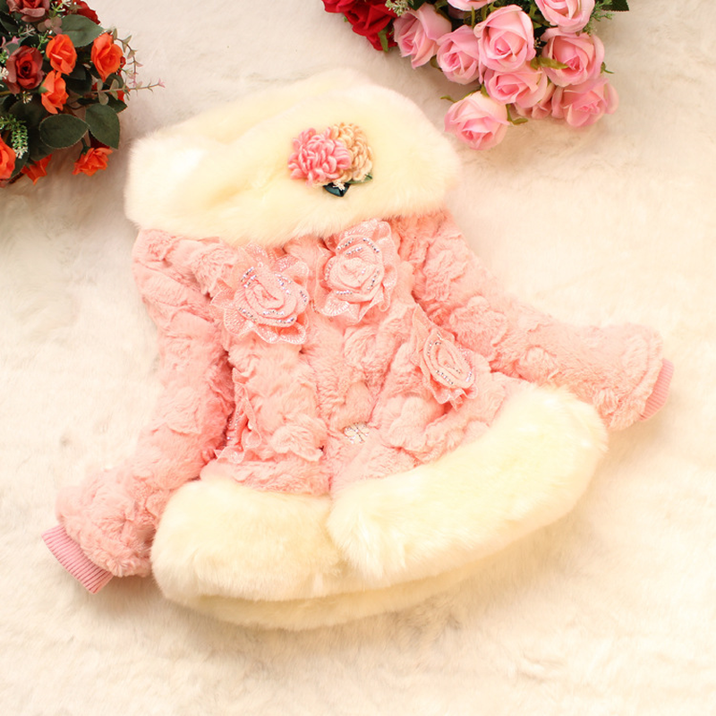 Girls Winter Faux Fur Turn Down Collar Thick Warm Beading Floral Pink Cute Down Coats Parkas Kids Baby Plus Velvet Outwear Hot faux fur cuff pearl beading scallop dress page 4