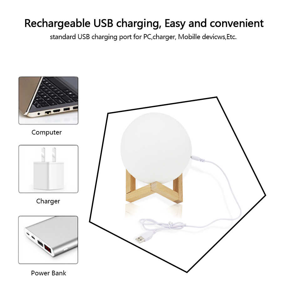Rechargeable Moon Light Moon Light Night Light USB Charging and Touch Control Brightness 3D Printed Warm/Cool White Lunar Lamp LED Night Lights  - AliExpress