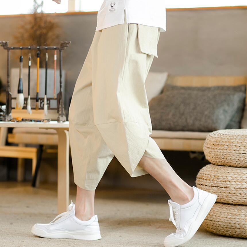2019 Sinicism Men's Pants Cotton Harem Baggy Casual Pants Male Elastic Waist Wide Leg Patchwork Linen Capri Trousers S-5XL(China)