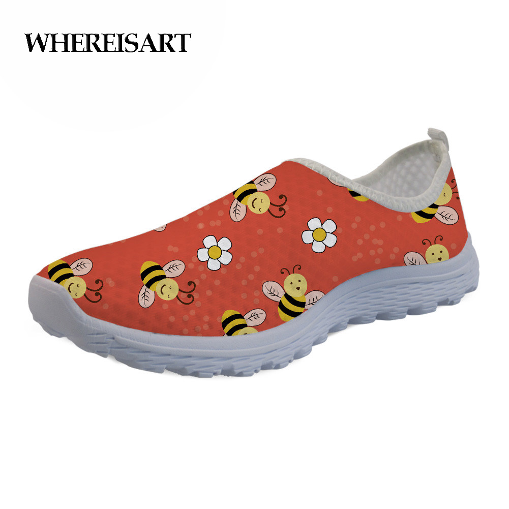 WHEREISART 2019 New Flat Shoes Women Cute Bee Printing Ladies Casual Breathable Walking Mesh Flats Sapato Feminino