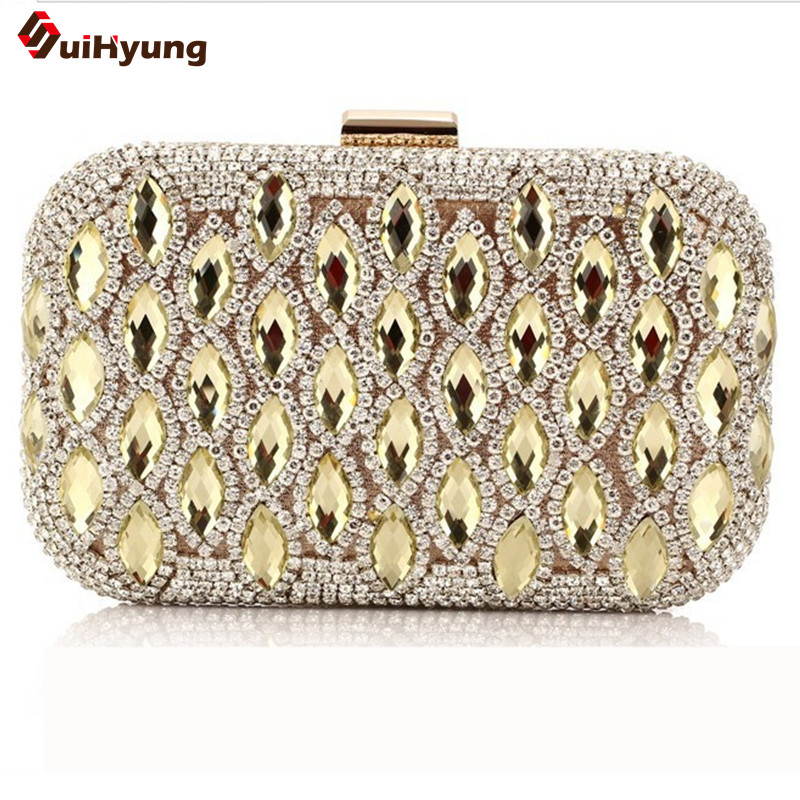 New Fashion Wedding Party Women Shoulder Handbag Luxury Flash Crystal Hrad Box Day Clutches Ladies Evening