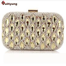New Fashion Wedding Party Women Shoulder Handbag Luxury Flash Crystal Hrad Box Day Clutches Ladies Evening Bag With Alloy Chain