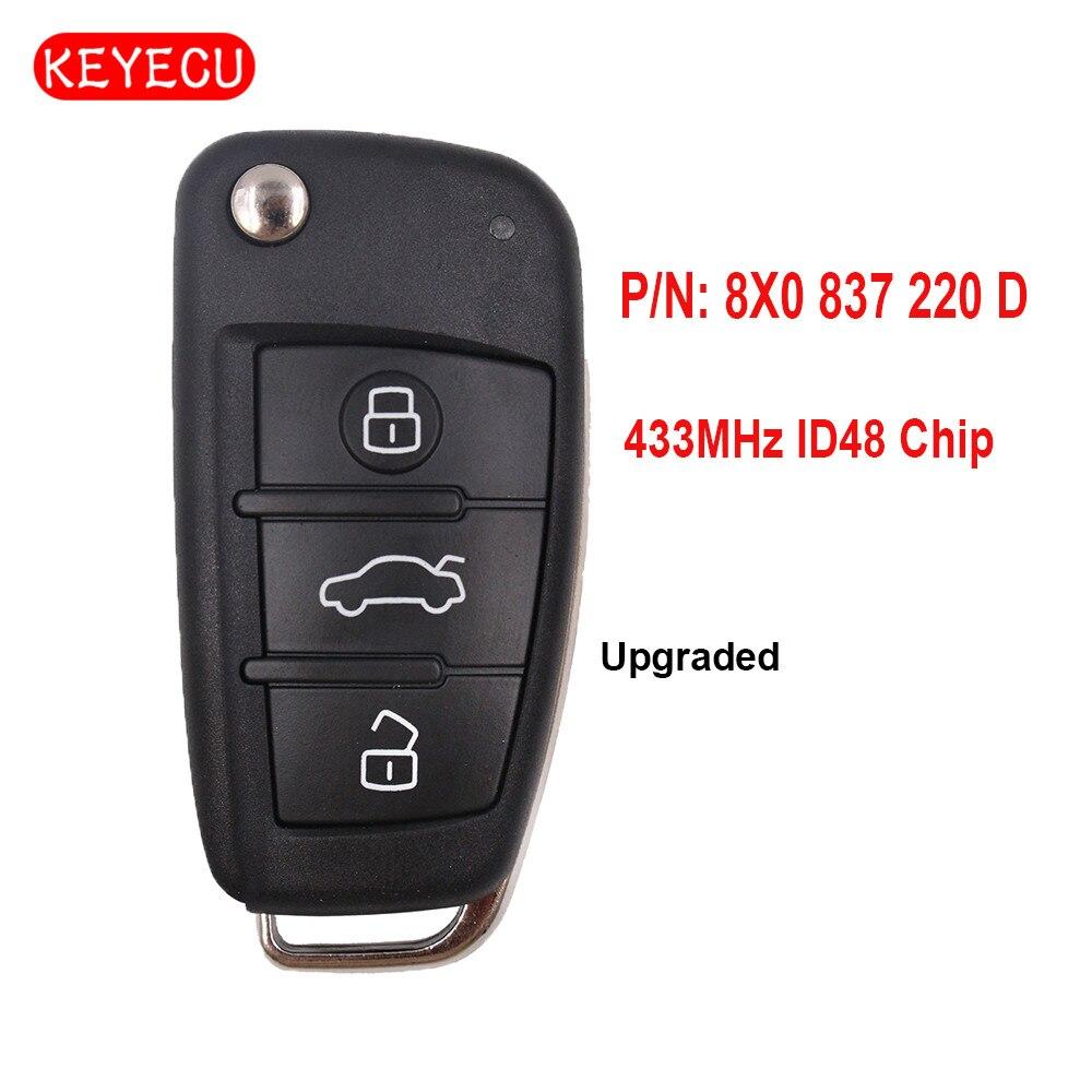 Keyecu Upgraded Flip Remote Car Key 433MHz ID48 Chip Fob for Audi A1 TT R8 2009-2010 / Q3 2011-2017 P/N: 8X0 837 220 D