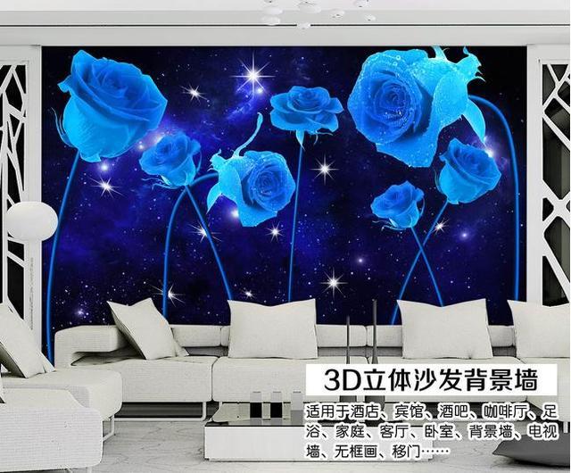 Large Blue Rose Flower Wall Mural Wallpaper for Living Rooms Bedroom