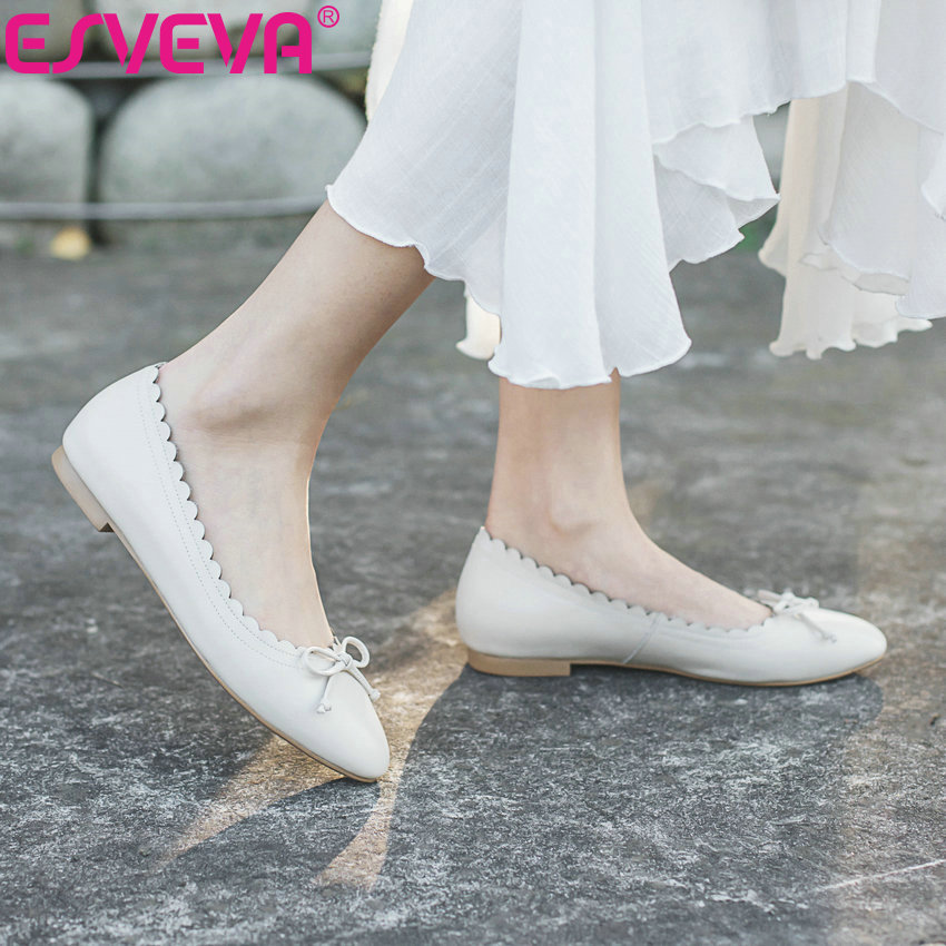 ESVEVA 2019 femmes Style occidental chaussures plates printemps automne bout rond sans lacet peu profond Miss chaussures peu profondes chaussures confortables 34-40