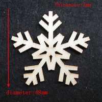 50 pz/borsa commercio all'ingrosso di alta qualità della neve fustellatura Dall'alto decorazioni Natalizie in legno 48mm 1145