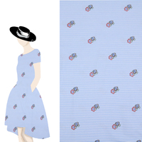 2017 Cheap Blue And White Pinstripe Red Flowers Fabric Women Dress Shirt Cloth Material DIY Handmade