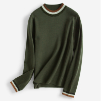 merino wool blend knit women fashion o neck patchwork pullover sweater army green 3colors one&over size