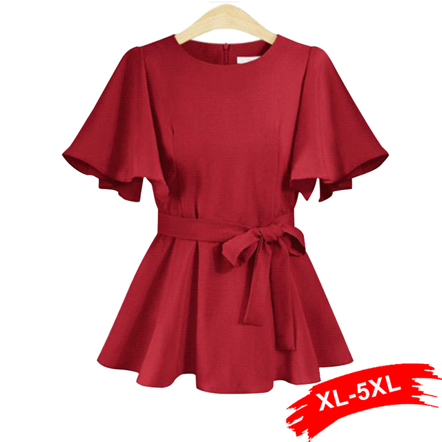 Plus Size Flare Sleeve Wrap Tie Burgundy Blouse Shirts 4xl 5xl
