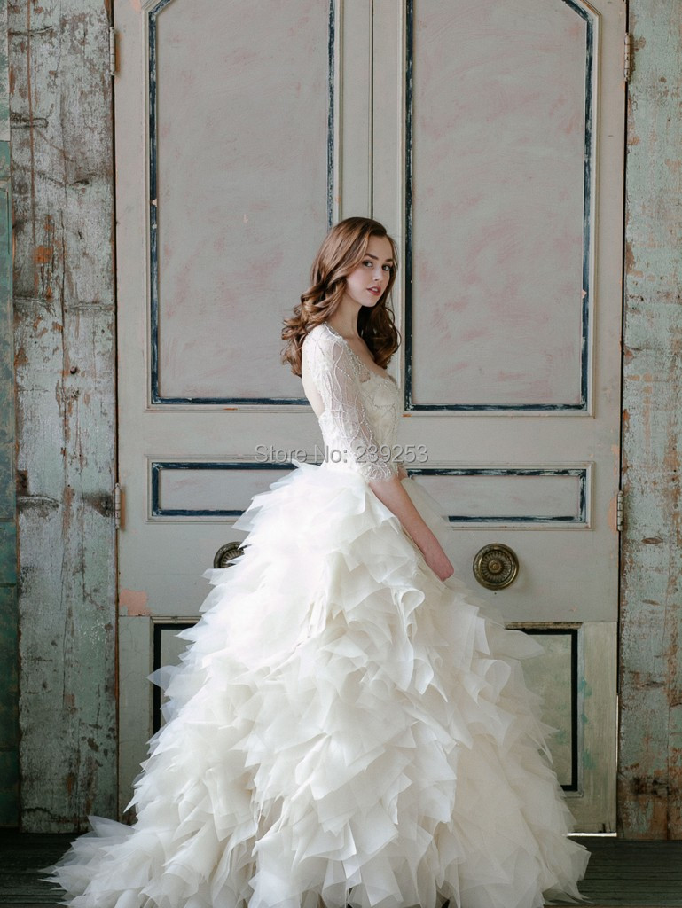 Poofy Wedding Dresses with Straps 2015