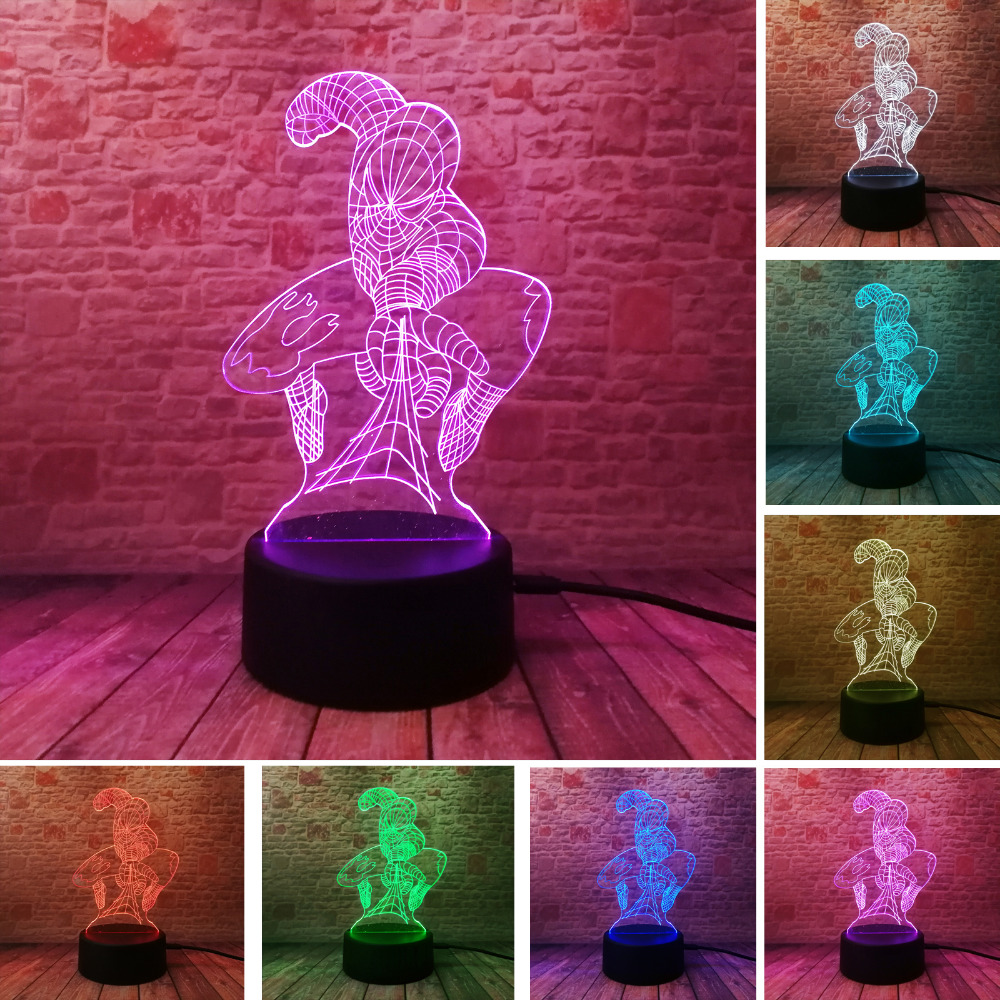 New Attack Spider Man 3D Lamp 7 Color Led Gradient Night Light Kids Table Child Baby Sleeping Festival Birthday Christmas Gifts spider man 3d table lamp 7 color led night light kids desk lamp for baby sleeping bedroom lampara nightlights luminaria de mesa