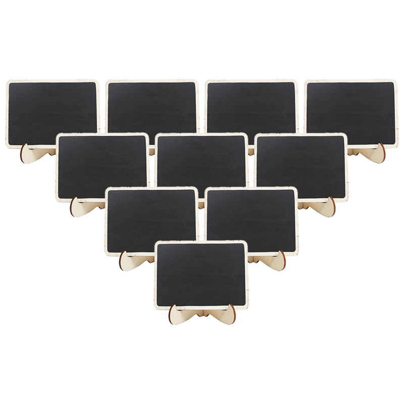 10pcs / Set  Mini Wooden Framed Table Number Chalkboard Signs With Stand 10x7.5x0.3cm