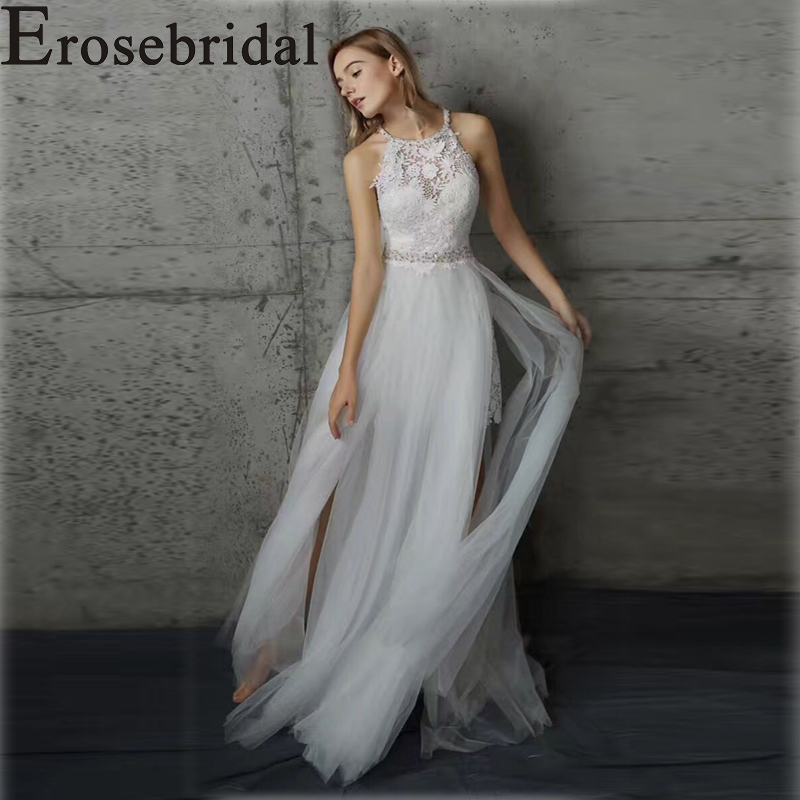 Erosebridal New Arrival 2019 Boho Wedding Dress Elegant Halter Gown the Lower Body Contains a Short