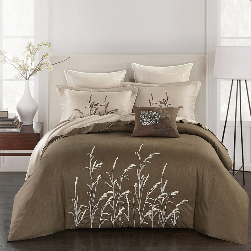 4pcs Linen Cotton Luxury Brown Beige Grey Bedding Sets Embroidery King Queen size Duvet Cover Bed Sheet set Pillowcase