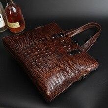New Arrival Vintage Alligator Genuine Leather Messenger Bag 2017 Retro Cow Leather Handbags Cowhide Briefcase Shoulder Bag Bolsa