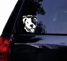 Tshirt Rocket Smiley Pitbull Face PIT MOM Decal - Cute Happy Pit Bull Dog Terrier Vinyl Car Decal, Laptop Decal, Car Windo 3 sizes animal pattern cute pet dog bull terrier car sticker window motorcycle laptop decal vinyl tape 3m h3510