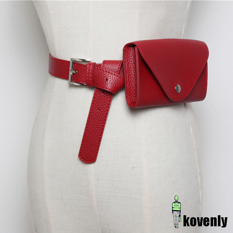 New Waist Bag PU Leather Fanny Pack Femal Belt Phone Pouch Small Chest Pack Bags Vintage Women Belt Messenger Bags 54