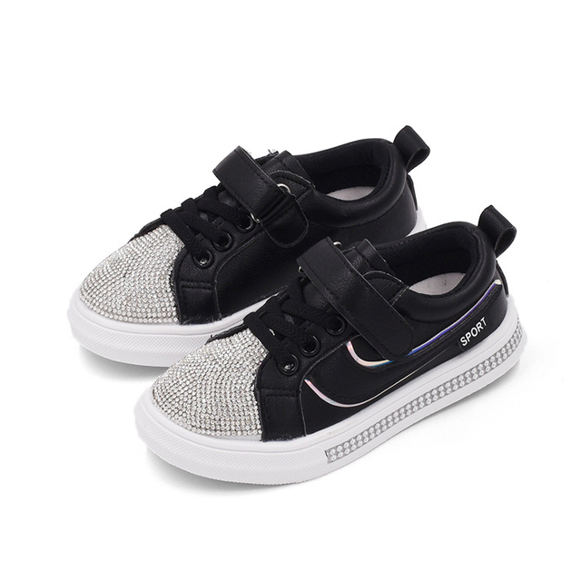 Boys Leather Shoes Casual Kids Sneakers Fashion Girls Crystal Shoes 2018  Children Diamond Shoes Outdoor Soft Rubber Sneaker 7b4a1093f4c7