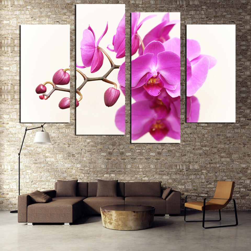 wall art decor for living room.htm modern canvas printing flowers 4 pieces print piration on wall  flowers 4 pieces print piration on wall
