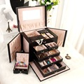 High-grade solid portable large capacity leather jewelry box jewelry box makeup box box