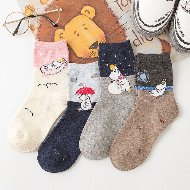 2019 yeni sonbahar ve kış kadın karikatür anime çorap Hippo karikatür hayvan moda klasik komik orta tüp ayakkabı 1 çift