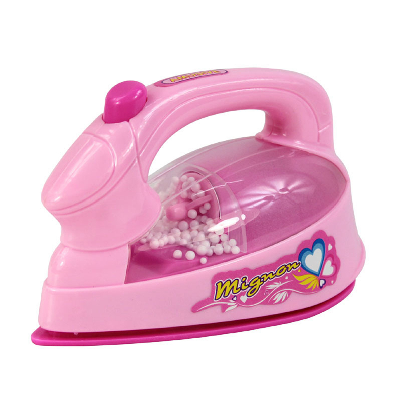 Pink Electric Iron Baby Girl Pretend Play Game Mini Home Appliances Toys for Children Doll House Accessory