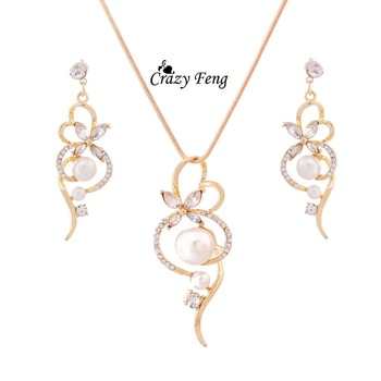 New Arrival Fashion Chain Link Necklace Earrings Crystal Jewelry Sets Gold-color Clear Jewelry Set For Women Engagement earrings