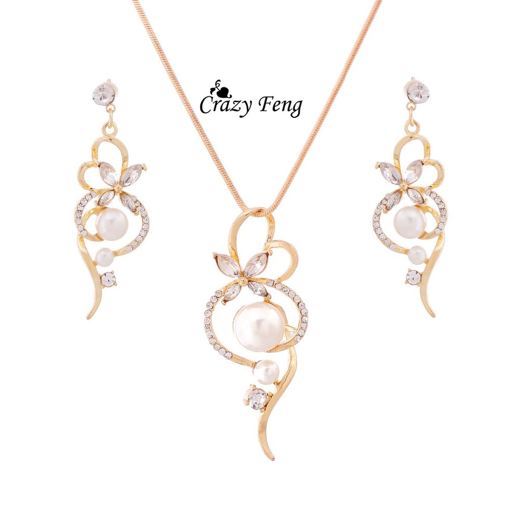 New Arrival Fashion Chain Link Necklace Earrings Crystal Jewelry Sets Gold-color Clear Jewelry Set For Women Engagement