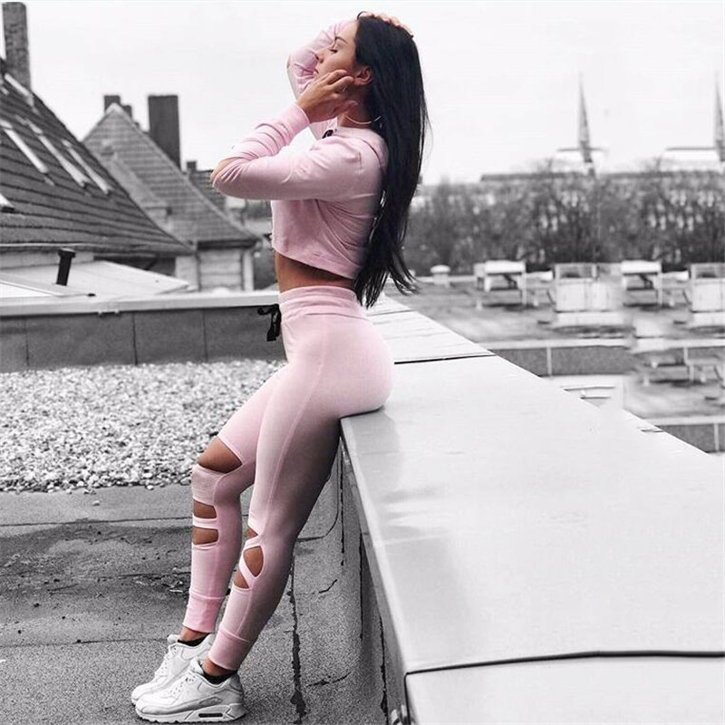 2017 Pink Women Yoga Pants Sport Fitness Running Quick Dry Compression Cross Tights