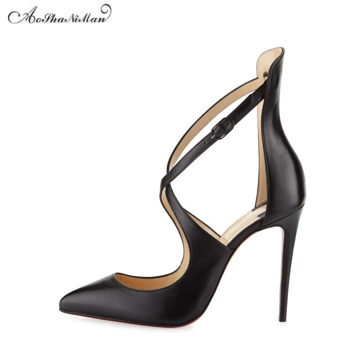 2018 fashion brand design high heels women thin heel pointed toe pumps stilettos woman real leather party shoes Cross tied heels 2018 brand fashion women pumps hin high heel pumps shoes for women sexy pointed toe 12cm high heels party wedding shoes woman