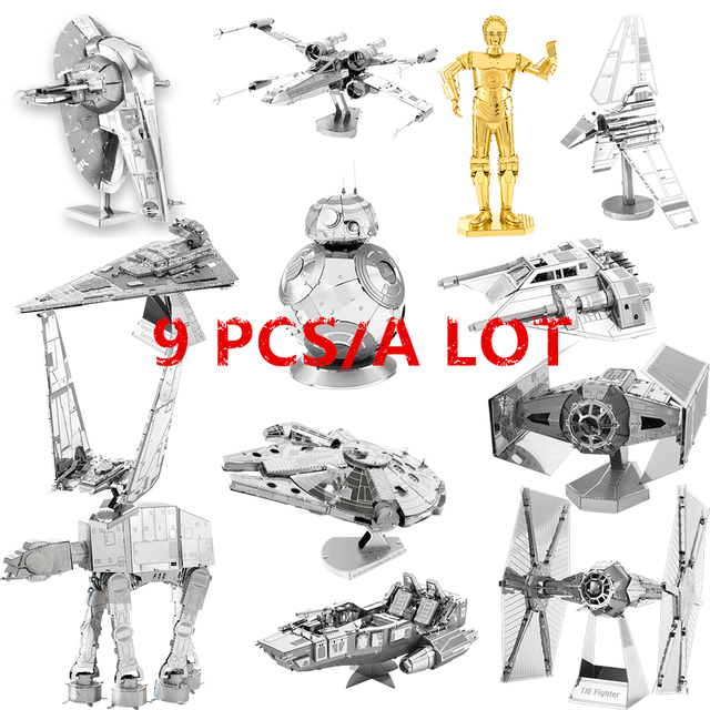JWLELE Star Wars puzzle 9pcs/a lot add BB-8 and C3P0 Robot 3D Metal assembly model Hobby collection Desktop decoration gift toys