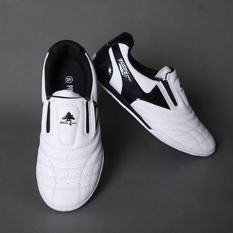 Ademend Taekwondo Schoenen Karate Kung Fu Martial Arts Schoenen Vrouw Mannen en kinderen Zachte rubberen Zolen Sneakers schoenen 26- 46
