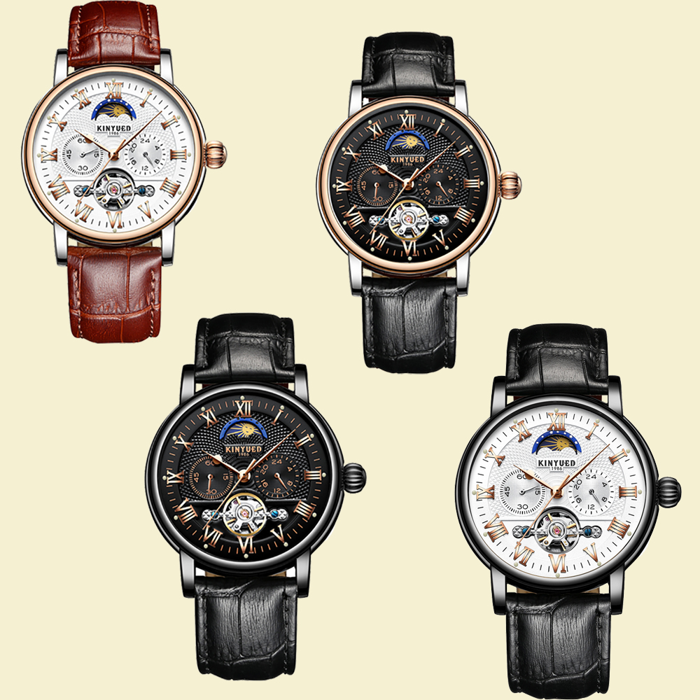 KINYUED Fashion Moon Phase Mechanical Watches Men Skeleton Chronograph Tourbillon Watch Man's Luxury Leather Relogio Masculino forsining2018 fashion casual new luxury roman numeral dail with tourbillon men s watch wristwatch moon phase display skeleton wa