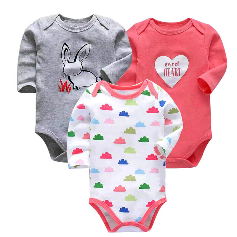 5f903b38bd922 100% Cotton Baby Bodysuit 3pieces/lot Autumn Newborn Cotton Body Baby Long  Sleeve Underwear