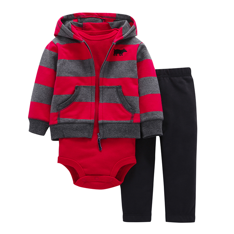 Fashion Style 3pcs(Long-sleeved Striped Hooded Pockets Zipper Coat+Solid Red Romper+Pants)Baby Boy 2018 New Character Clothes kids ruffle tie neck striped romper