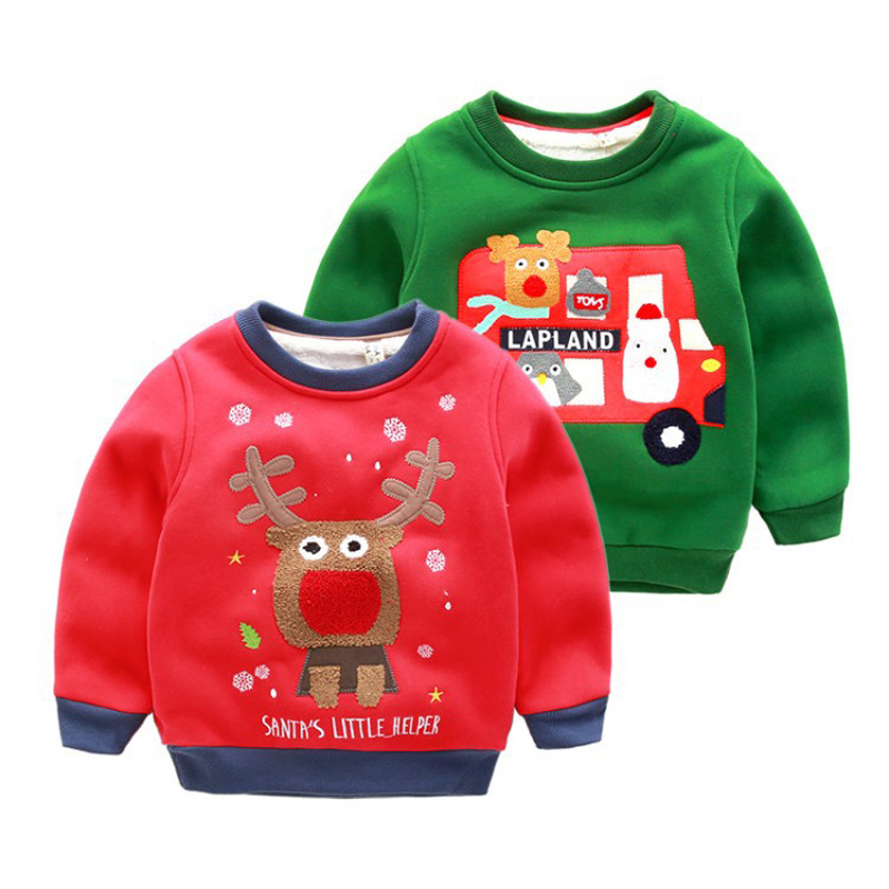 Winter Plus Cashmere Kids Sweatshirts Christmas Cartoon Deer Hoodies Boys Girls Knitwear Pullover Toddler Children Thicken Shirt