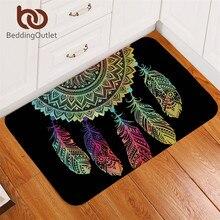 Alfombra atrapasueños abatible alfombra antideslizante alfombra suave Mandala alfombra de suelo absorbente bohemio colorido plumas felpudo para dormitorio