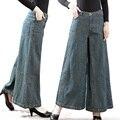 Frete Grátis 2017 Nova Moda Calças Compridas Para As Mulheres Calças Mais tamanho 26-35 Jeans Perna Larga Calças Jeans Com Bolsos Four Season