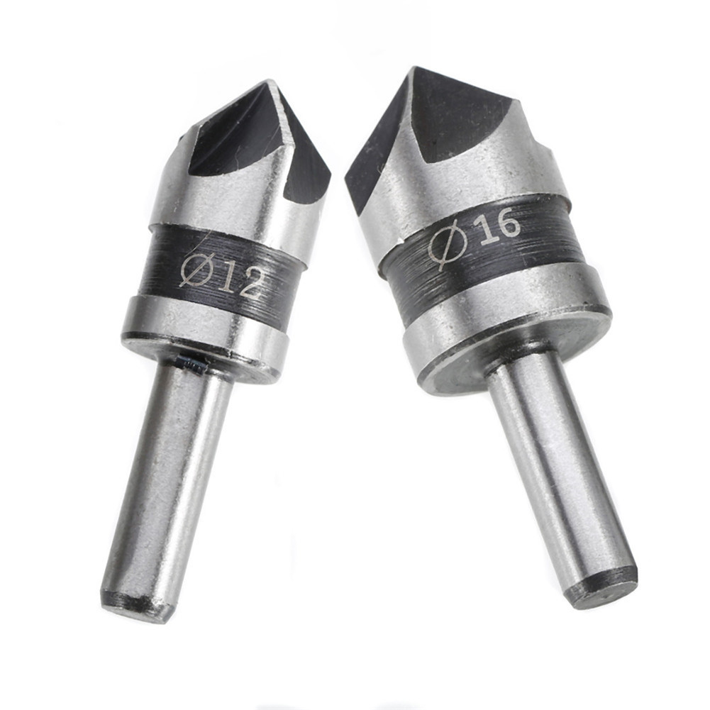 2pcs HSS 5 Flute Countersink Drill Bit 82Degree Point Angle Chamfer Chamfering Countersinking Cutter 1/4 Round Shank Power Tool goxawee 3pc 5 flute 90 degree 1 4 hex shank countersink drill bits set for power tool rotary tools metal woodworking drill bit
