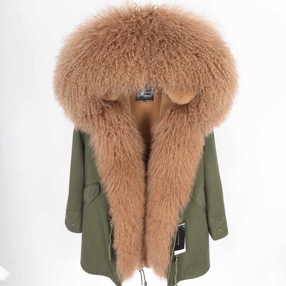 2018 MAO MAO KONG Mode frauen Luxuriöse lamm pelz parka mongolei schafe fell Kapuze Mantel Outwear Winter Jacke